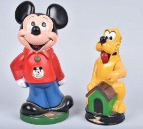 Vintage Mickey Mouse & Pluto Vinyl Banks