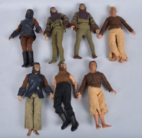 Lot Of 7 Plannet Of The Apes Mego Figures