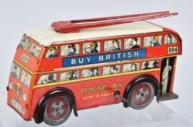 Well Tin Windup Double Decker Transport Bus