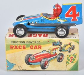 Japan Tin Friction #4 Moon Race Car W/ Box