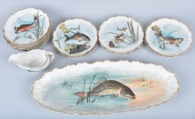 Limoges France Fish China Set, 14 Pieces