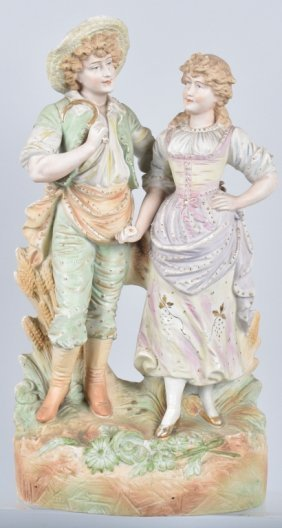 Large Bisque Figure, Man And Woman