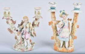 Lot Of 2 German Bisque Figural Candlesticks