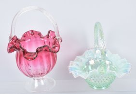 Lot Of 2 Large Glass Baskets, Fenton & More