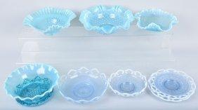Lot Of 8 Fenton Style Aqua & Blue Bowls & More