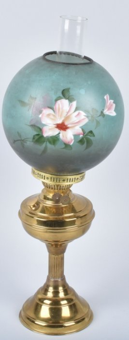 Antique Oil Parlor Lamp, Floral Shade