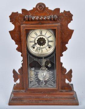 Antique Waterbury Oak Kitchen Clock & Alarm