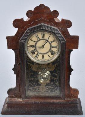 Antique Walnut Kitchen Clock, Patriotic Motiff