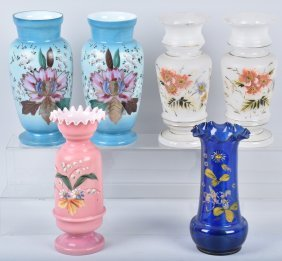 Lot Of 6 Handpainted Vases