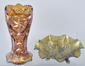 Lot Of Carnival Glass Vase & Candy Dish