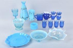 Lot Large Of Vintage Blue Glass