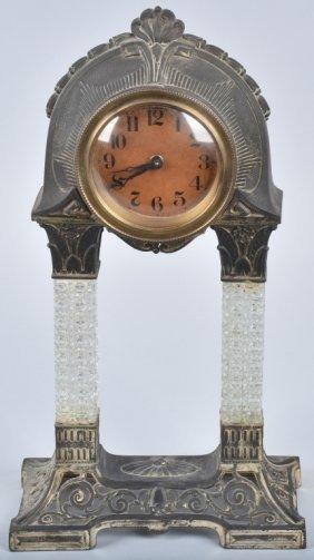 Antique Meatl And Pressed Glass Shelf Clock