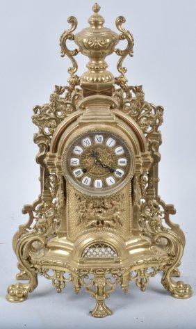 Ornate German Cast Brass Shelf Clock