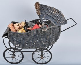 Early Wicker Baby Buggy W/ Dolls