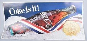 1984 Coca Cola Olympics Cardboard Sign