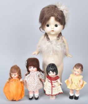 Lot Of Composition And Bisque Dolls
