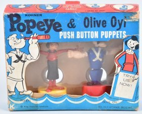 Popeye & Olive Oyl Push Button Puppets W/box