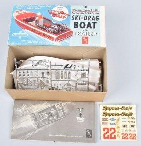 Amt Ski-drag Boat W/ Trailer Model Kit