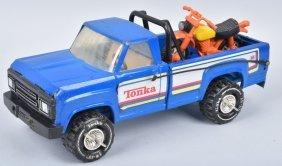 Tonka Large Blue Pickup Truck W/ Dirt Bike