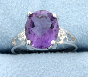 Amethyst & Diamond Sterling Silver Ring