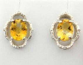 Citrine & Diamond Sterling Silver Earrings