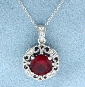 Sterling Silver Pendant With Lab Ruby