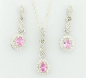 Sterling Silver Earring & Pendant Set With Pink