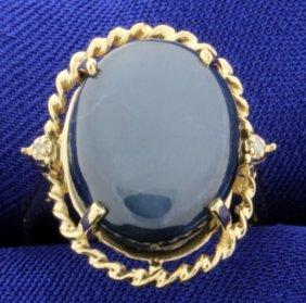 Star Sapphire & Diamond 14k Ring