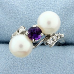 Diamond, Amethyst, And Pearl Ring In White Gold