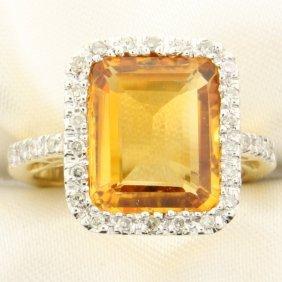 5 Carat Citrine And Diamond 14k Gold Ring
