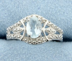 Aquamarine & Diamond Sterling Silver Ring