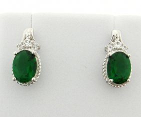 Sterling Silver Earrings With Lab Emerald