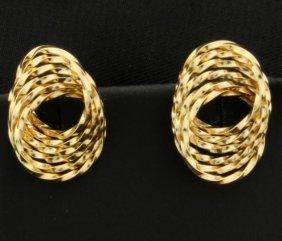 14k Twisted Style Yellow Gold Earrings