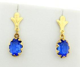 Lab Blue Topaz Dangle Earrings