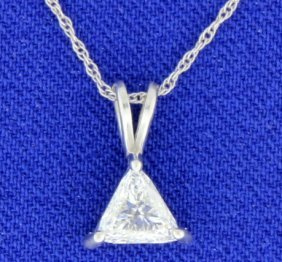 Trillion Diamond Solitaire Pendant With Chain