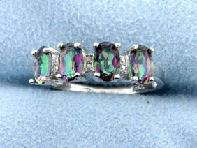 Genuine Mystic Topaz & Diamond Ring