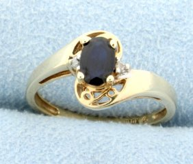 Natural Sapphire & Diamond Ring