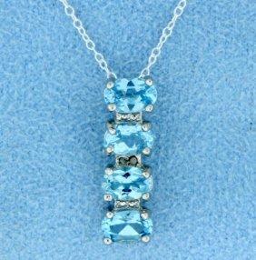 Blue Topaz & Diamond Sterling Silver Pendant