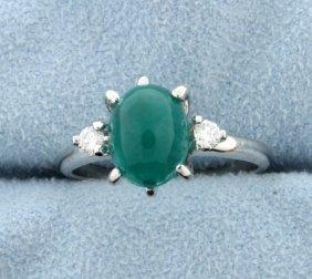 Emerald & Diamond 14k White Gold 3-stone Ring