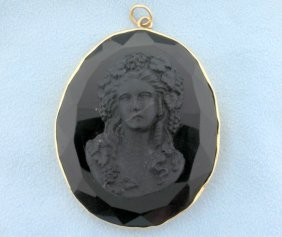 Antique Black Mourning Cameo Pendant