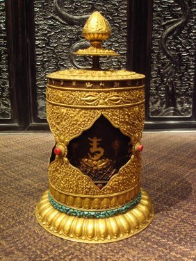 Very Rare Ming Dynasty Gilt-bronze Tibetan Prayer Wheel