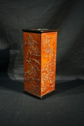 Qing Dynasty Bamboo Carved Brush Holder