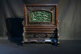 An Exquisite Wood Table Screen Inlaid W/ Spinach-jade