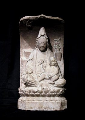 Song Dynasty Stone Carved Stele Of Guanyin With Baby