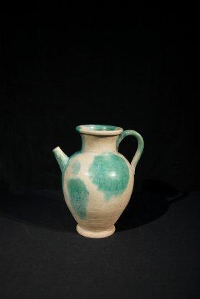 Rare Tang Dynasty Ewer With Green Splash Glaze