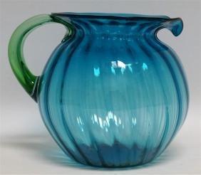 BLENKO GLASS BLUE LEMONADE PITCHER