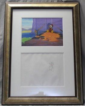 Donald Duck Walt Disney Production Cel & Drawing