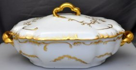 19th C. Limoges Gold Cream Covered Vegetable