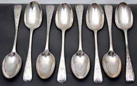8 English Sterling Egg Spoons Bright Cut 1899