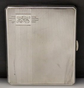 English Sterling 1935 Art Deco Cigarette Case